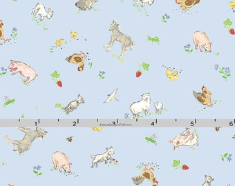 Blue Farm Animal Fabric,  Farm Quilt Fabric, Red Rooster Fabrics Country Days 26619, Heidi Boyd, Pigs, Sheep, Horses, Rabbit, Goat, Cotton