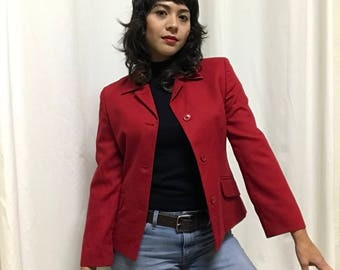 Vintage Italian Red Wool Blazer in Perfect Condition Perfect for Winter