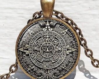 MAYAN CALENDAR PENDANT Mayan Calendar Jewelry Aztec Calendar Mayan Pendant Brown White Astronomy Jewelry Archaeology Jewelry