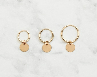 Minimalistic hoop earrings with a tiny coin | Price per piece | 14k gold filled & sterling silver
