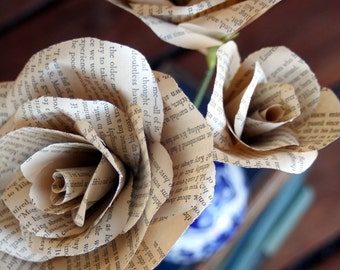 Vintage Book Page Roses- Literary wedding, decor