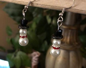 Peral Snowman Earrings, Peral Holiday Earrings, Peral Christmas Earrings