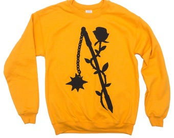 Rose and Flail Gold Crewneck Sweater