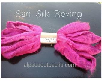 Hot Pink Sari Silk Roving / spinning/ felting/ blending