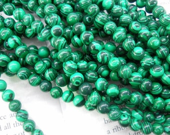 6mm artificial malachite round beads, 15.5 inch