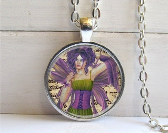 Fairy Art Pendant, Fairy Necklace, Vintage Writing Collage, Silver and Glass Fairy Jewelry