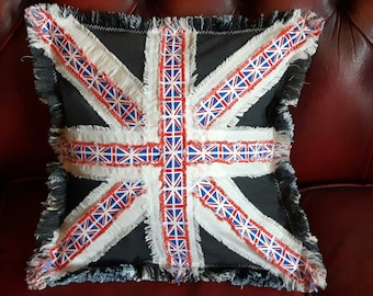 Union Jack Cushion cover, Handmade Jenniwren Originals pillow cover, unique gift, christmas cushion, VW Camper Van