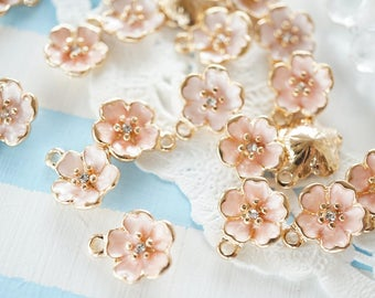 4 pcs Pearlized Sakura/ Cherry Blossom Charms (12mm) AZ139
