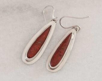 Red Sonoran Sunrise Stone Earrings in Sterling Silver Teardrop Earrings, Handmade