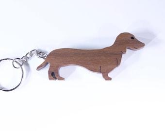 Wooden Dachshund Dog Keychain-Pet Keychain-Animal Keychain-Perfect Small Gift