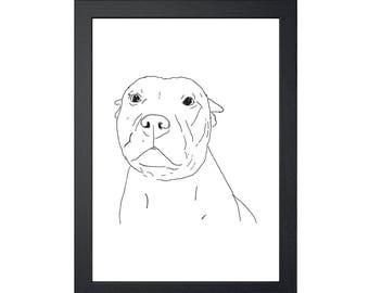 Pit Bull Dog 8.5x11 Art Print, Wall Decor, Wall art, Funny Dog Art, Drawing Prints