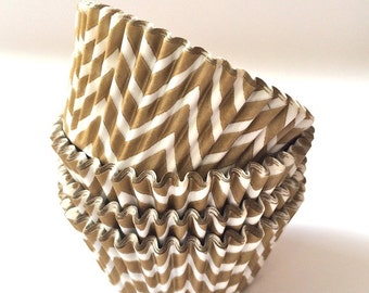 Gold Cupcake Cups - Gold Chevron cupcake liners (50) baking cups muffin cups greaseproof cupcake papers cupcake wrappers zigzag cake papers