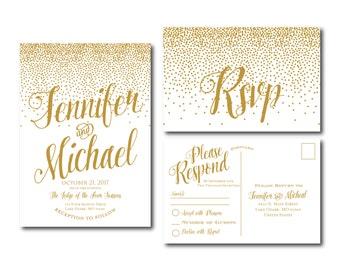 Gold Wedding Invitation - Gold Sparkles - Printable Wedding Invitation - Rsvp Postcard - Wedding Rsvp - RSVP Card - Printable File #CL116