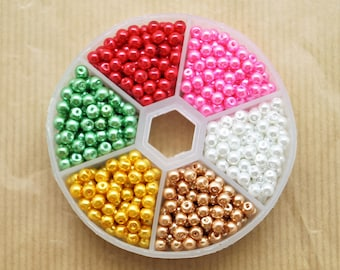 Box of 810 round pearls pearl glass beads, 6 assorted colors, 4 mm