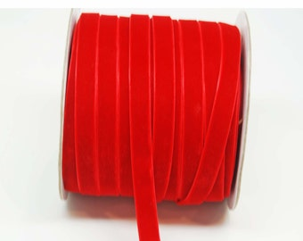 Velvet Woven Ribbon Trim -- 3/8 inches -- Holiday Red
