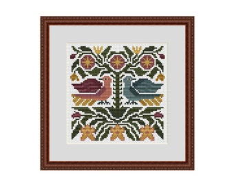 Primitive cross stitch pattern, Counted cross stitch pattern, Cross stitch flowers, Cross stitch birds, Cross stitch chart, Xstitch pattern