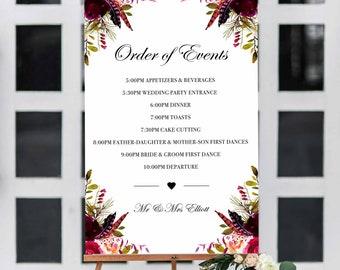 Wedding Order Of Events Sign, Maroon, Burgundy, Dark Red, Floral, Timeline, Wedding Sign, Wedding Decorations, Schedule, Poster, MW1