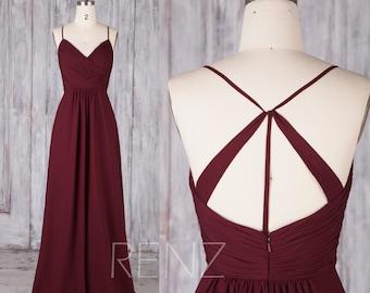 Bridesmaid Dress Wine Chiffon Dress,Wedding Dress,Spaghetti Strap Prom Dress,V Neck Formal Dress,A-Line Maxi Dress,Ruched Party Dress(H289B)