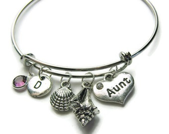 Beach Theme Bangle Bracelet, Aunt Bangle, Aunt Bracelet, Beach Bracelet, Shell Bracelet, Aunt Beach Bracelet, Personalized