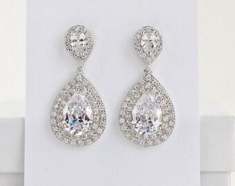 Teardrop Crystal Earrings Bridal Cubic Zirconia Earrings Wedding Teardrop Rhodium Earrings Bridal Clear Crystal Earring Bridesmaid Jewelry