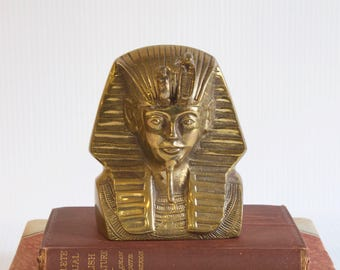 Vintage Brass Statue King Tut Figurine - Egyptian Tutankhamen Pharaoh - Hollywood Regency