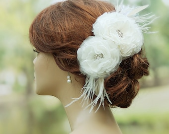 Bridal headpiece, Bridal hair flowers, Wedding Hair Accessories, Wedding hair clip, Bridal hair piece,  Floral hair clip, Bridal fascinator