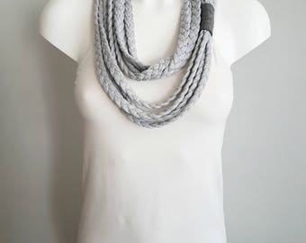 T-shirt scarf, t-shirt necklace, grey necklace, grey scarf, braided scarf, fabric scarf, fabric necklace