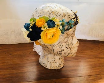 Canary Yellow and Navy Blue Flower Crown