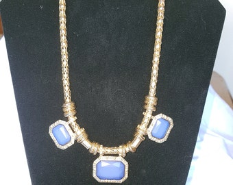 Three blue beaded necklace