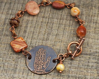 Copper palm reading bracelet, warm earthtones stone beads, etched rust red jewelry, sunstone, red creek jasper, 8 inches long