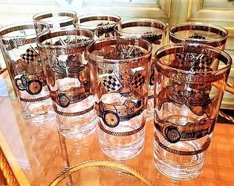 CULVER HIBALL GLASSES Indianapolis 500 Race Car Set of 8 22K Gold Mid Century Barware Man Cave Bar Gift