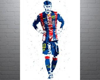 Neymar Jr FC Barcelona Poster, Sports Art Print, Soccer Poster, Football Poster, Watercolor Contemporary Abstract Drawing Print, Brazil