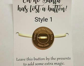 Santa's lost button, Christmas tradition, north pole, missing button, Santa, ready to post