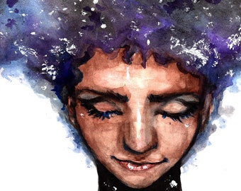 Miss Universe Cosmic Watercolor Painting High Quality Art Print