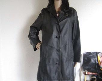 Vintage 80s leather jacket coat leather coat Jakett S