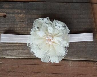 Beige Lace Flower Headband