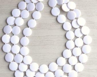 Charlotte - White Lucite Bridesmaid Multi Strand Statement Necklace