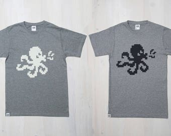 OCTOFISH T-shirt, Men's tee, Funky, Grey, Vanilla, Black, Octopus print, Pixel art