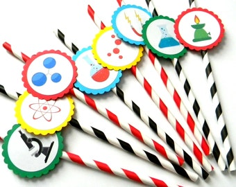 12 Science Party Straws, First Birthday, Science Theme, Laboratory Theme, Stripe Straws, Science Birthday, Science Party, Lab Theme, Beaker