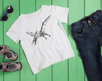 Kids Pterodactyl T-Shirt, Robot Dinosaur Tshirt, Child Dino Tee, Dinosaur Lover Gift, Steampunk Pterodactyl Gift, Machine Animal Top
