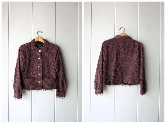 Fringed Cotton Jacket Handwoven Guatemalan Coat 90s Cropped Purple Jacket Crop Bomber Jacket Kindred Spirit Light Fall Coat Womens XS Small