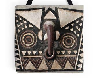 African Art Tote Bag - Featuring Exclusive Bobo Bwa Hawk Mask Design