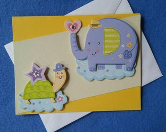 New Baby Greeting Card - elephant and turtle, unisex baby card, handmade blank card, baby boy or baby girl