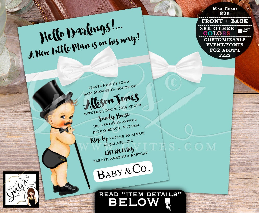 Breakfast At Little Man BABY SHOWER Invitation, Baby And Co Bow Tie Baby  Invitations, Bowtie Boy, Baby Blue, 5x7 Double Sided. Gvites