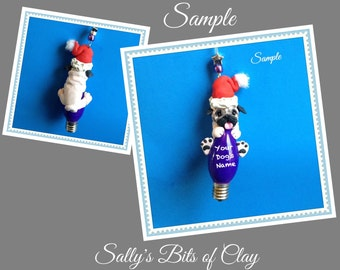 Fawn Pug Santa Dog Christmas Light Bulb Ornament Sally's Bits of Clay PERSONALIZED FREE with dog's name