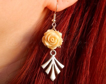 """OOAK Art deco style """"Bloom"""" silvered earrings with creamy roses"""