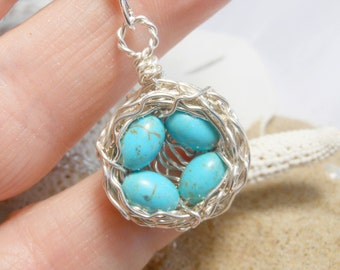Four Egg Birds Nest Necklace with Speckled Eggs Robin Egg Wire Wrapped Argentium