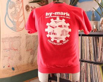 red vintage short sleeve sweatshirt . Hy-Mark steel buildings grain bins . Henderson Nebraska