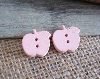 Apple buttons 17 mm wooden 5 x pink