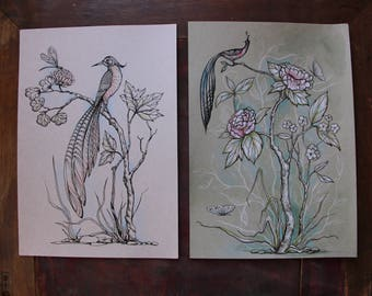 Peony and birds. Two illustrations in Chinoiserie style. Hand drawing illustrations.